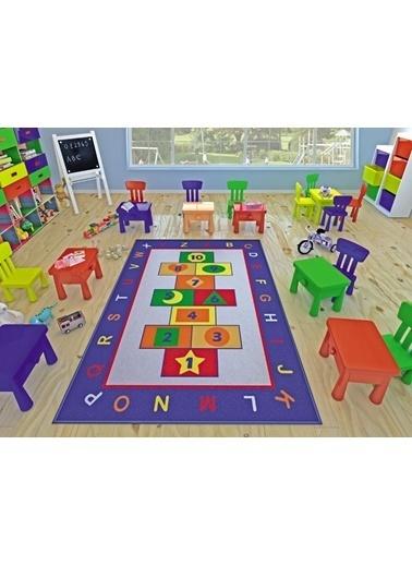 Confetti Game Çocuk Odası Anaokulu Kaymaz Seksek Oyun Halısı Renkli